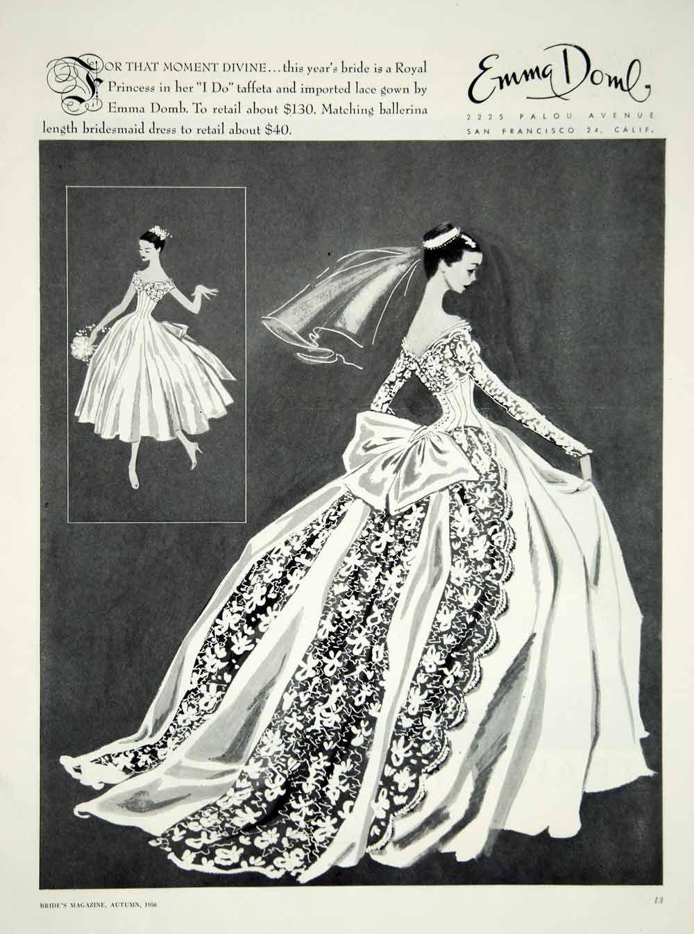 1956 Ad Vintage Emma Domb Wedding Dress Bride Bridesmaid