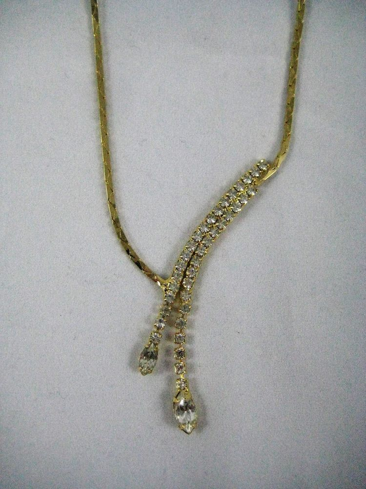 Gold-Tone and Clear Crystal Lariat Necklace Elegant Evening Wear #Unbranded #Lariat