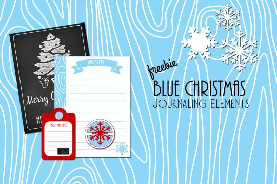 Free Printable Download -  Blue Christmas Journaling Elements
