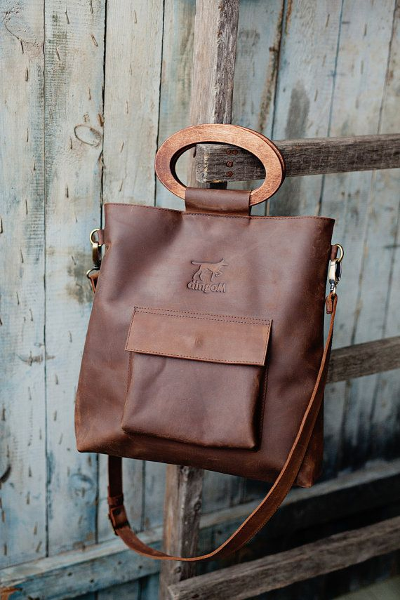 Leather tote bag, wooden handles bag, crossbody handbag, long ...