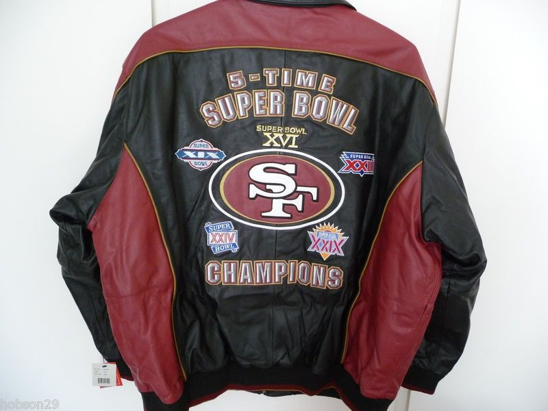 buy popular d8ca5 7c4a8 San Francisco 49ers Leather Jacket Size 4XL 5 Time Super ...
