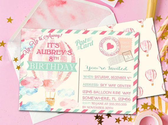Hot Air Balloon Invitation Birthday Party Postcard Up A