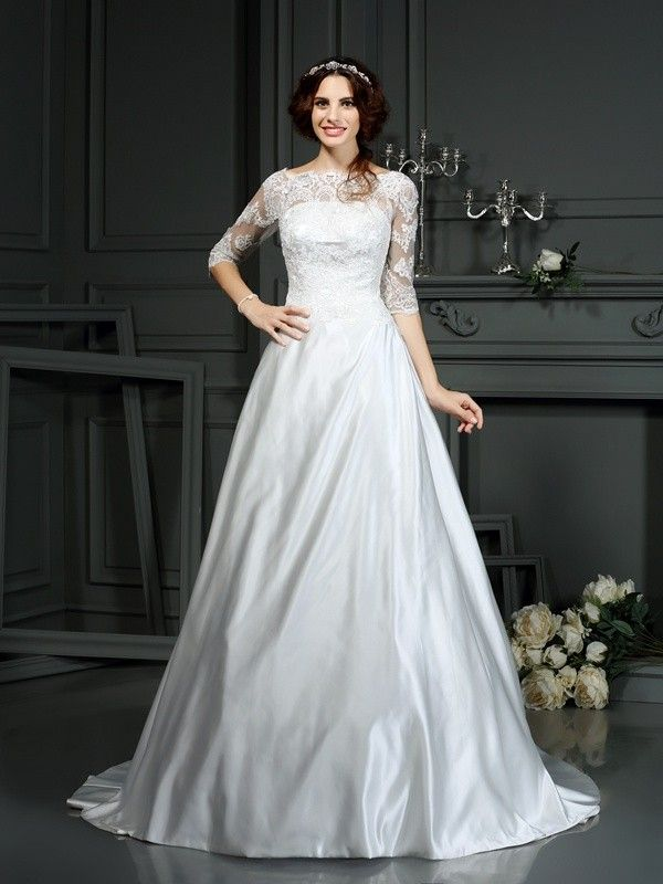01c1ab9bd5ab A-Line/Princess Bateau Lace 1/2 Sleeves Long Satin Wedding Dresses