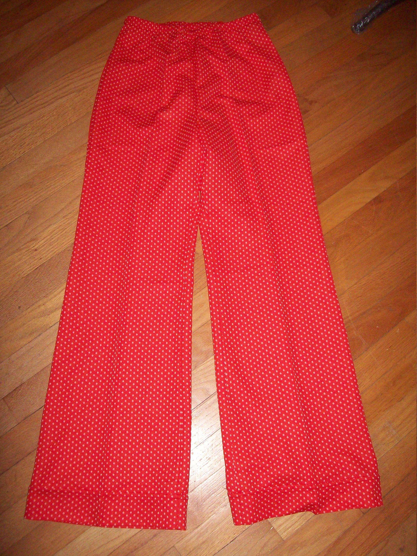 245b38e4 Vintage 60s 70s Red White Polka Dot Bell Bottom Pants / Size 14 ...