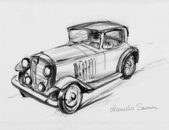 Classic Car Drawing Original Print Expensive Automobile Old Timer