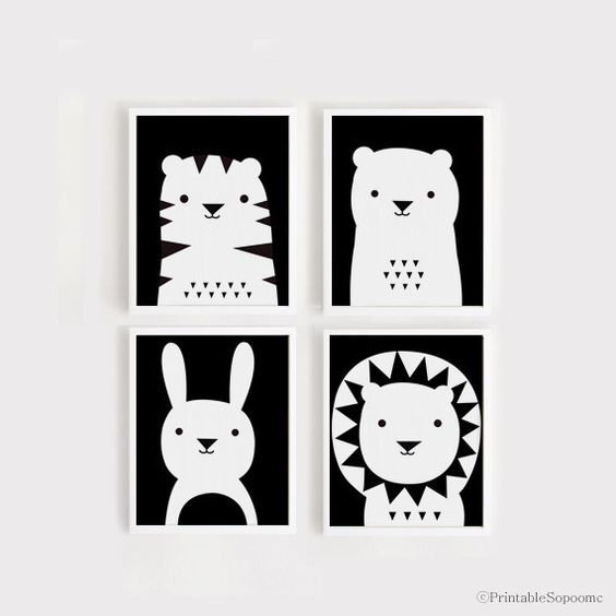 Art print download nursery art set of 4 animal poster tiger bear bunny lion baby room