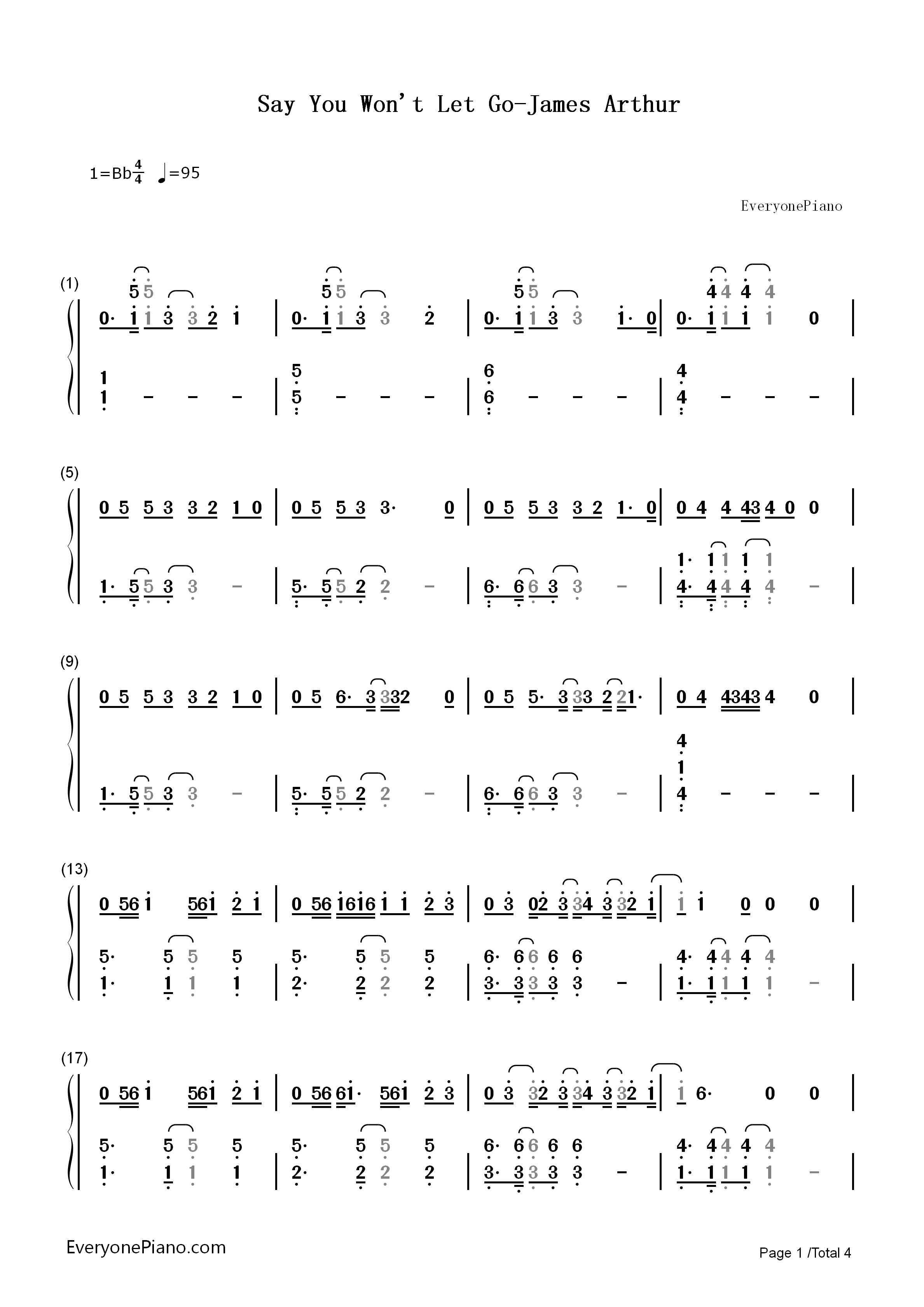 Say You Won T Let Go James Arthur Numbered Musical Notation Preview 1 Say You Wont Let Go Let It Be Piano Notes Songs