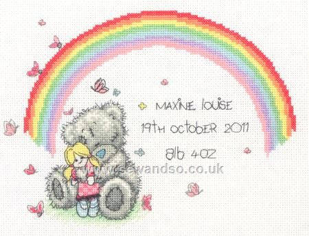 Buy Tiny Tatty Rainbow Birth Sampler Cross Stitch Kit online at sewandso.co.uk