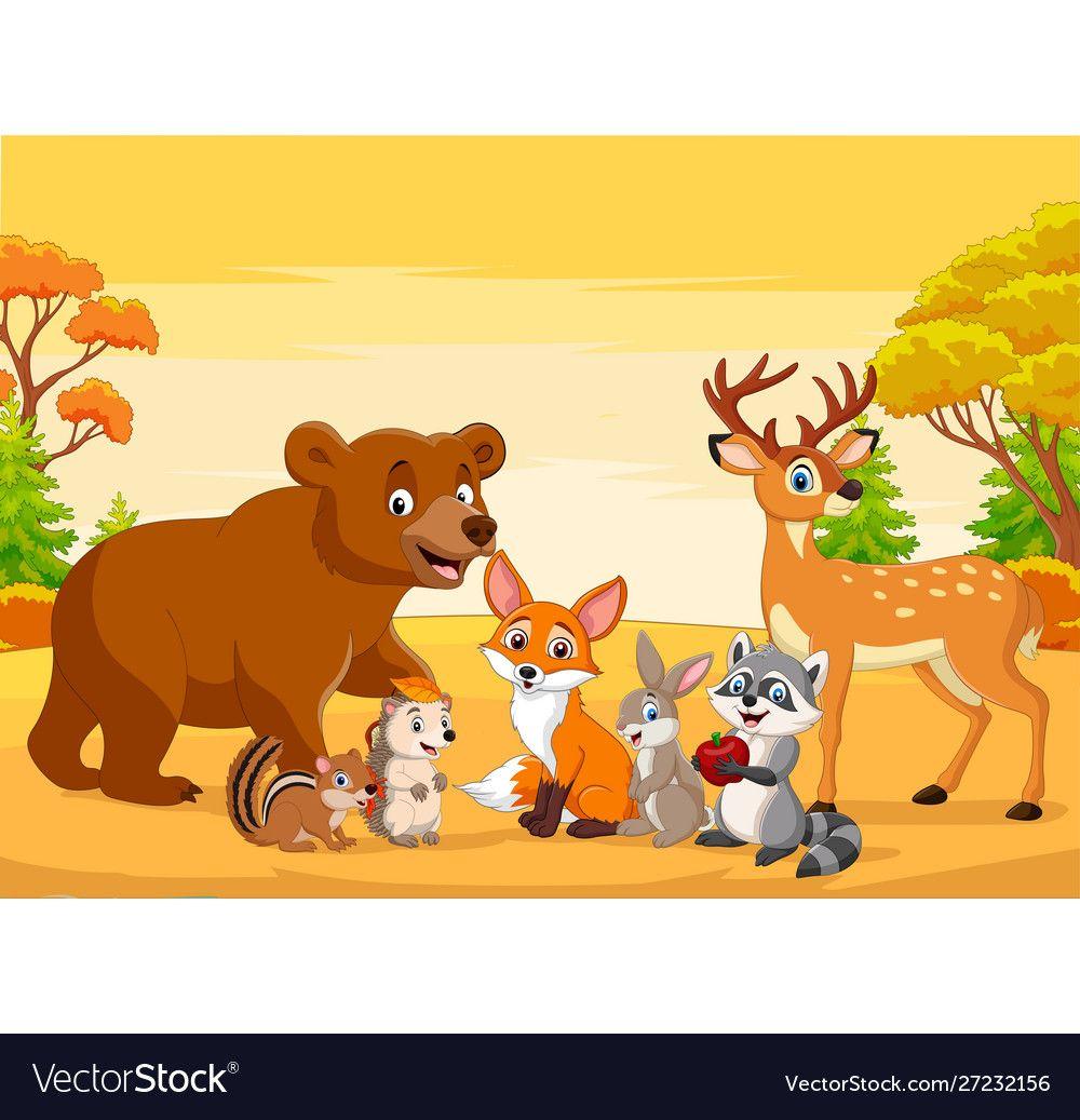 Cartoon wild animals in autumn forest vector image on