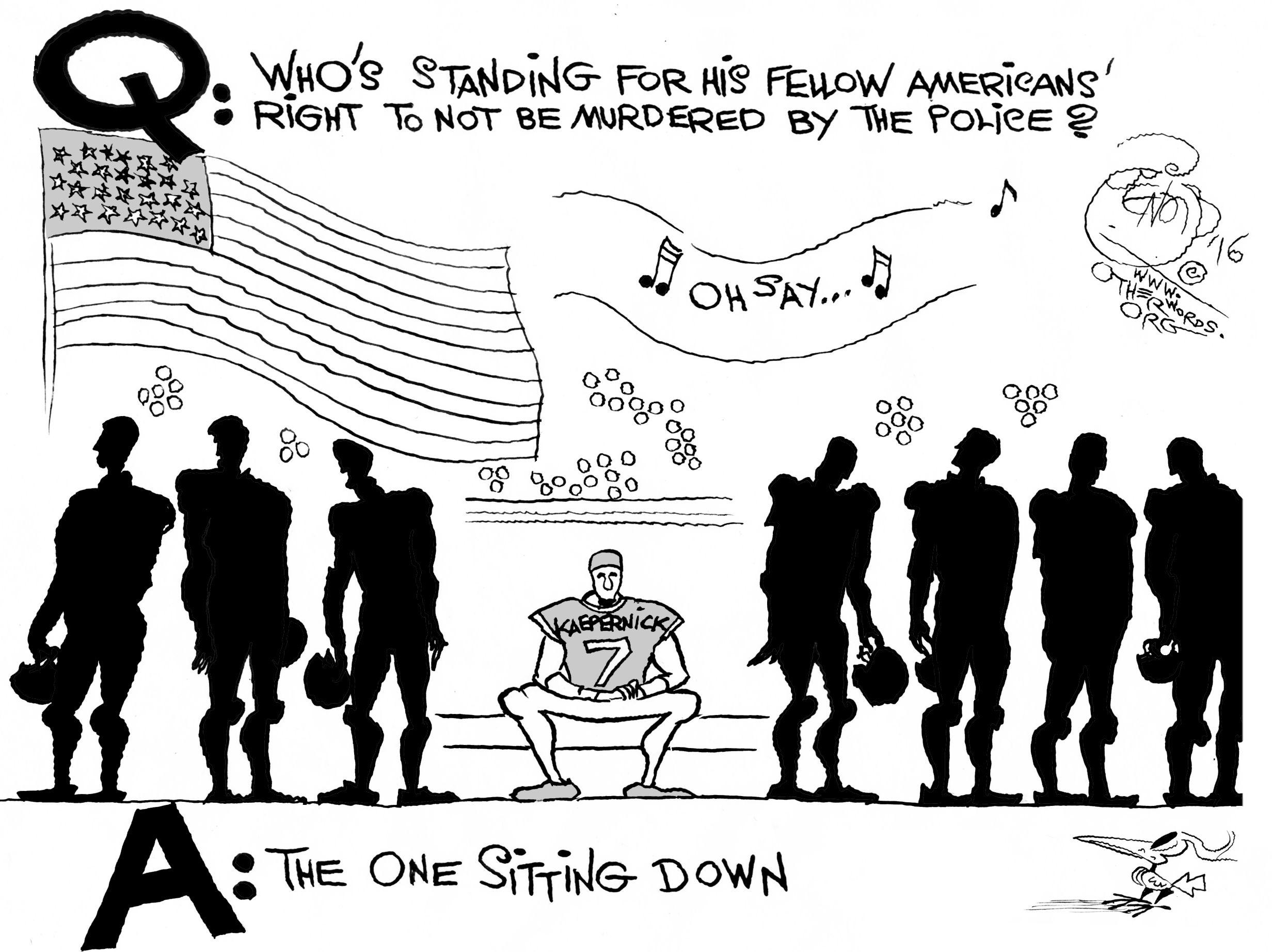 Comics: Khalil Bendib on Colin Kaepernick's Patriotism | Alternet