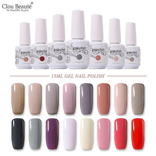 Clou Beaute 15ml Gel Nail Polish UV Pink Red White Black