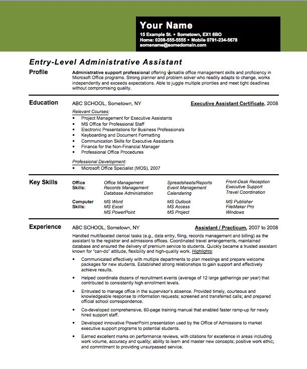 Entry-Level Assistant Principal Resume Templates entry level - executive assistant skills