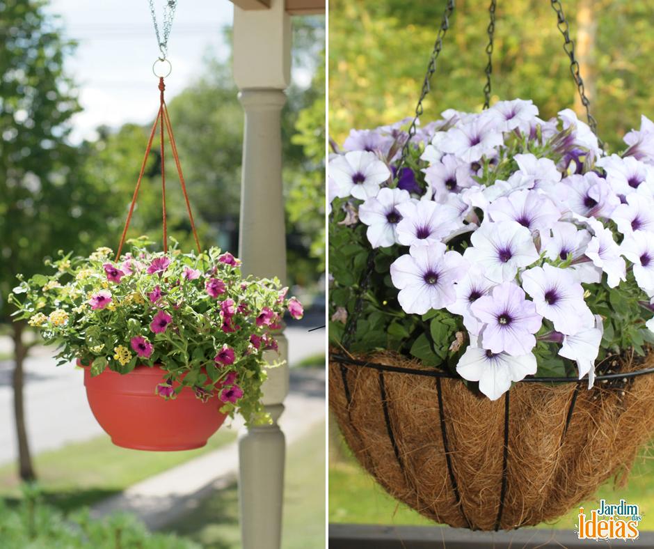 Jardins suspensos são ideais para você que adora mudar as plantas de locais por causa da decoração ou do clima.