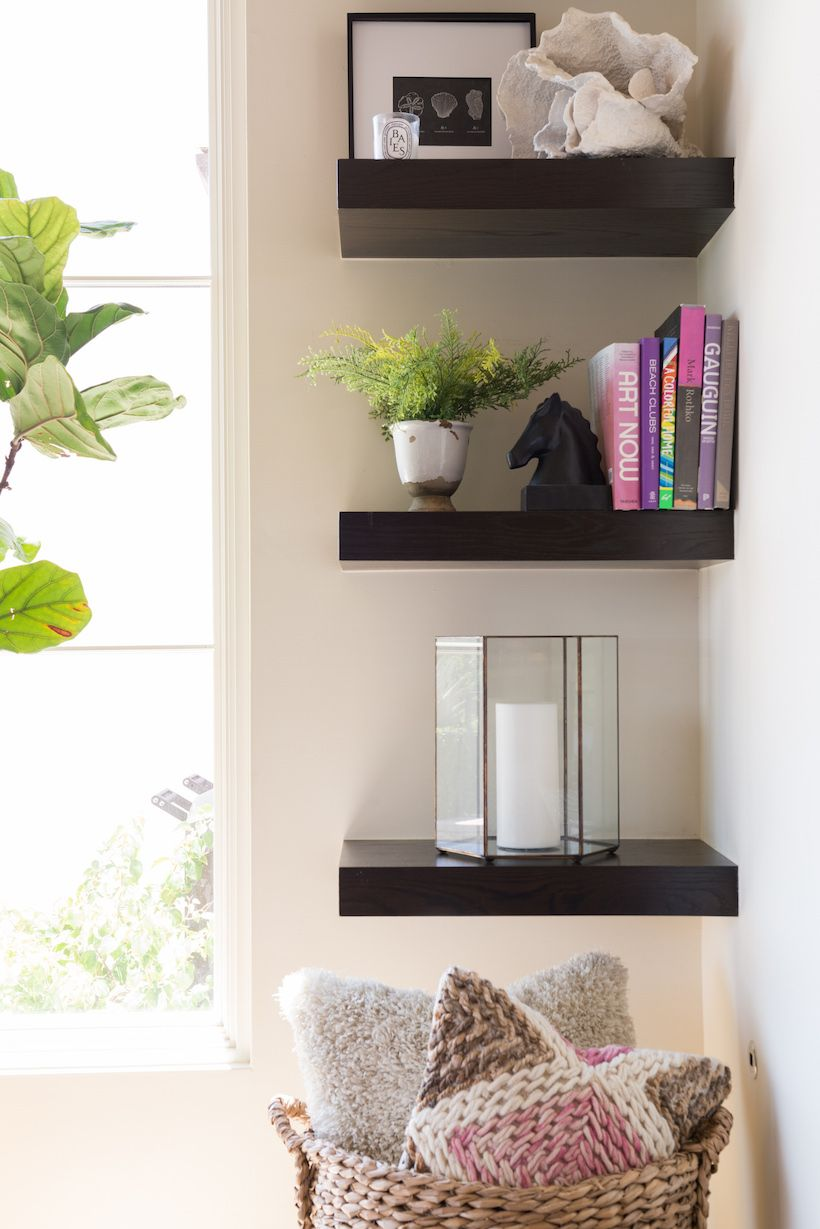 A Splash of Color in My Living Room | Living room shelves ...