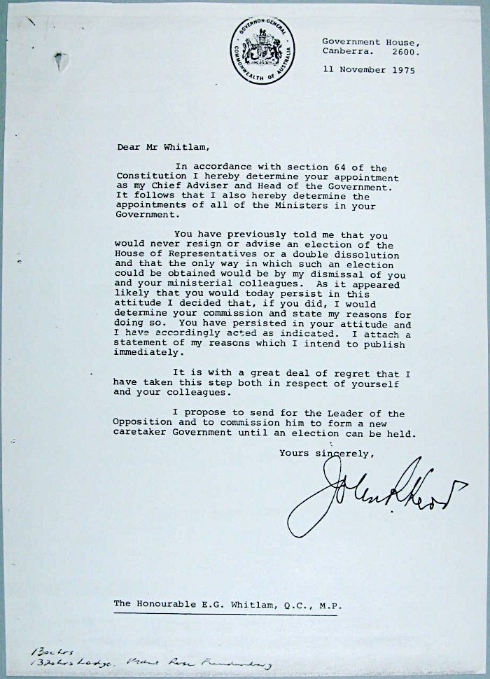 Sir John Kerr\'s letter dismissing Gough Whitlam as Prime Minister ...
