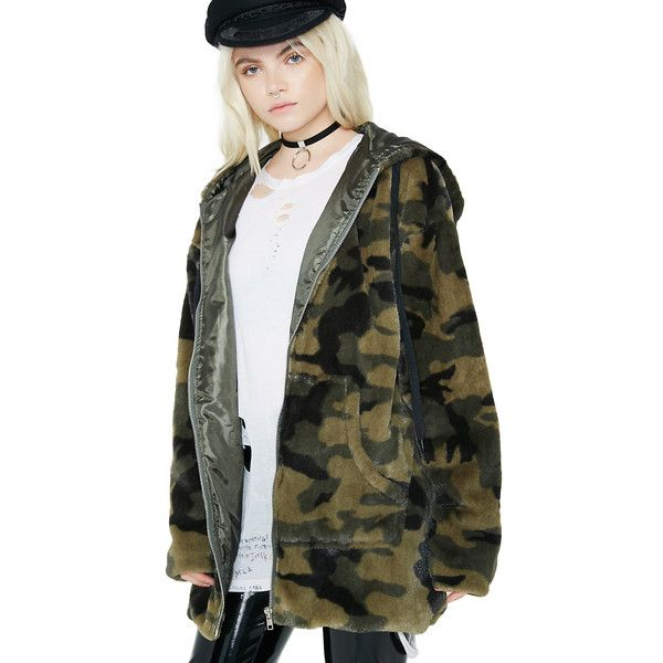 255fe5089 Camo Fur Long Zip Up Jacket ($70) ❤ liked on Polyvore featuring outerwear,  jackets, oversized fur jacket, oversized jacket, camouflage print jacket,  ...