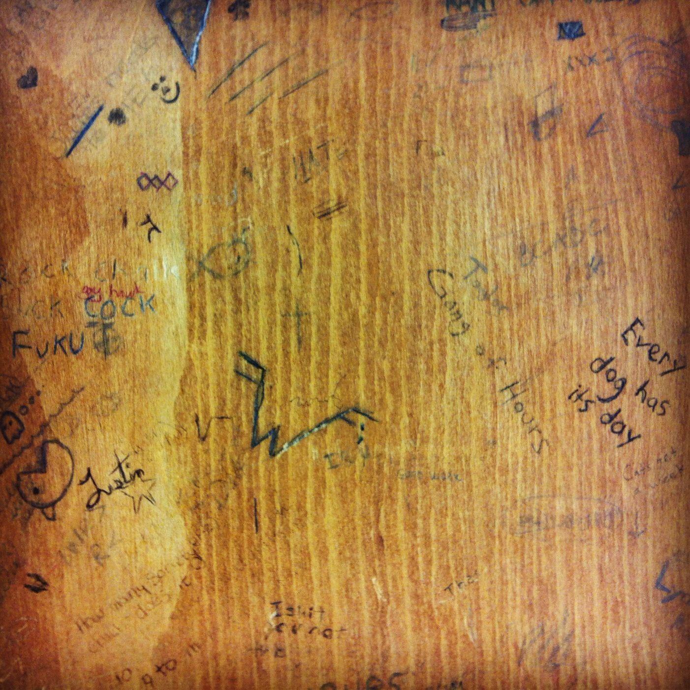 Sushipot: School Desk Graffiti | Old Skool | School desks ...