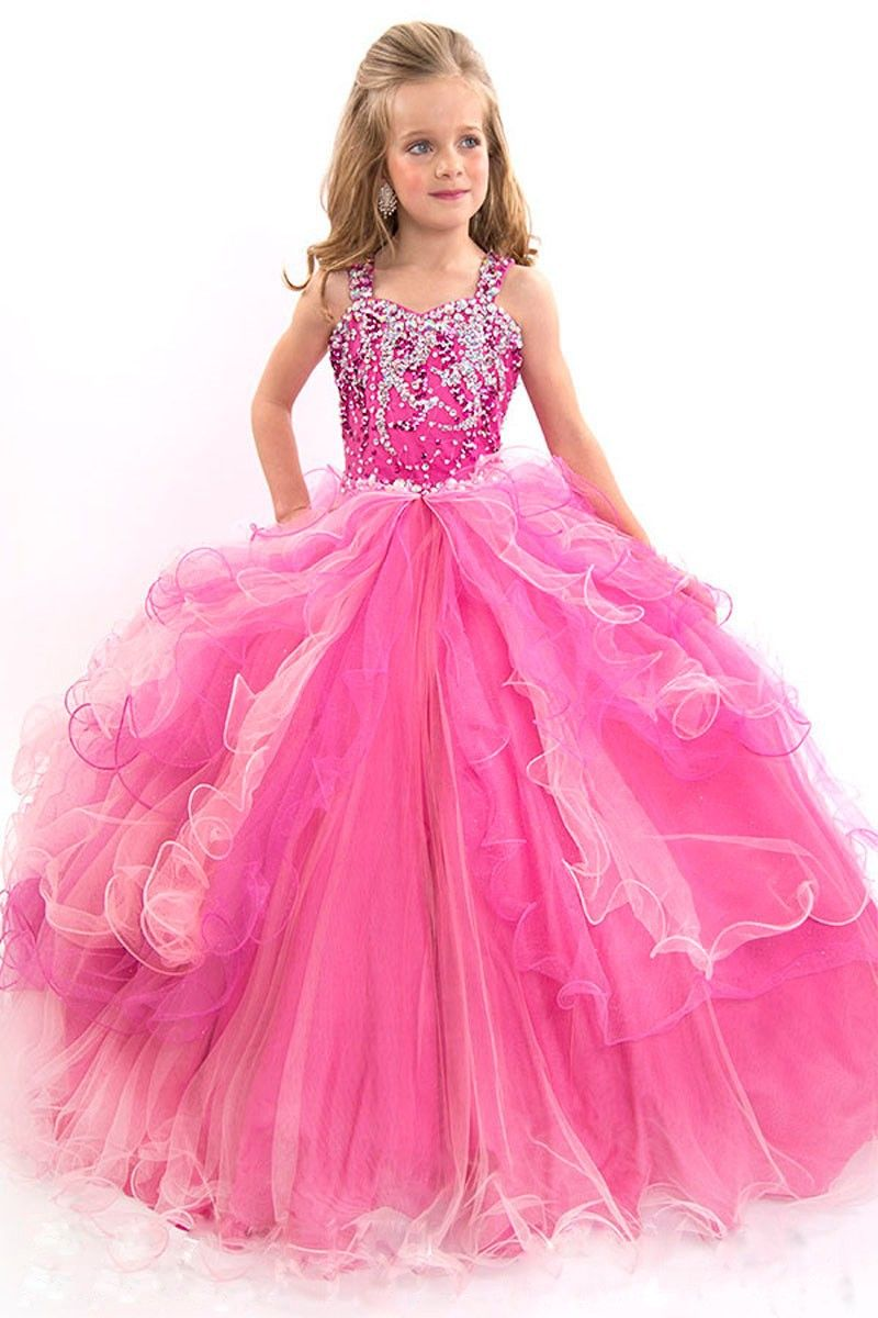 Wishesbridal Crystal Straps Tulle Fuchsia Ball Gown Girls Pageant ...