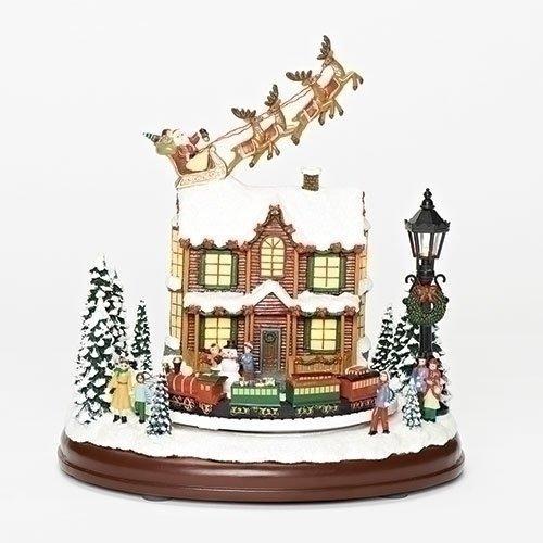 Roman Led Lit Santa And Reindeer Animated Christmas Musical Christmas Musical Animated Christmas Decorative Tabletop