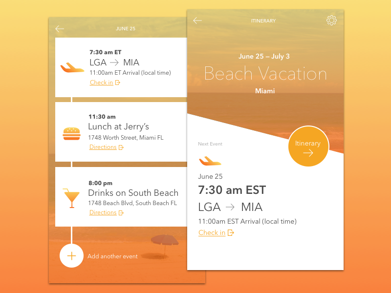 itinerary app concept mobile ui examples pinterest app mobile