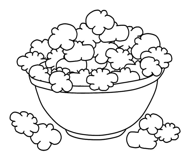 Bowl Popcorn Coloring Page For