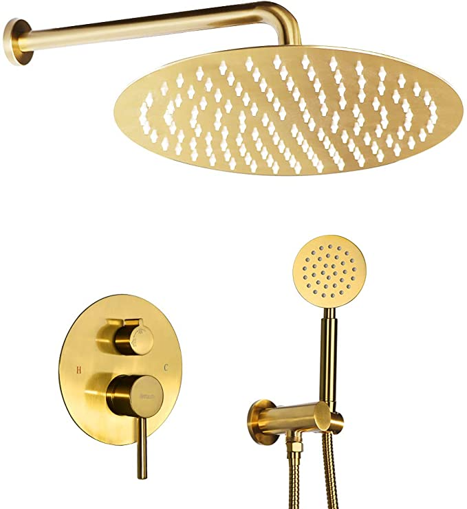 Gold Shower System Ceiling Shower Faucet Brushed Gold Has 12 Inch Round Golden Brush Rain Shower Head With H In 2021 Shower Faucet Sets Rainfall Shower Shower Systems