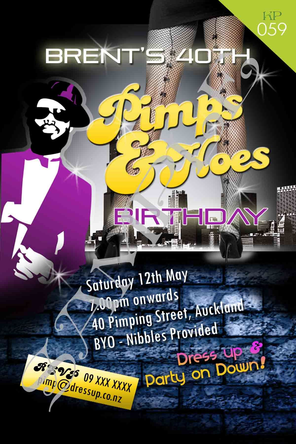 Pimps Hoes Invitation Designed With Your Information Ball Theme Party Mom Party 50th Party