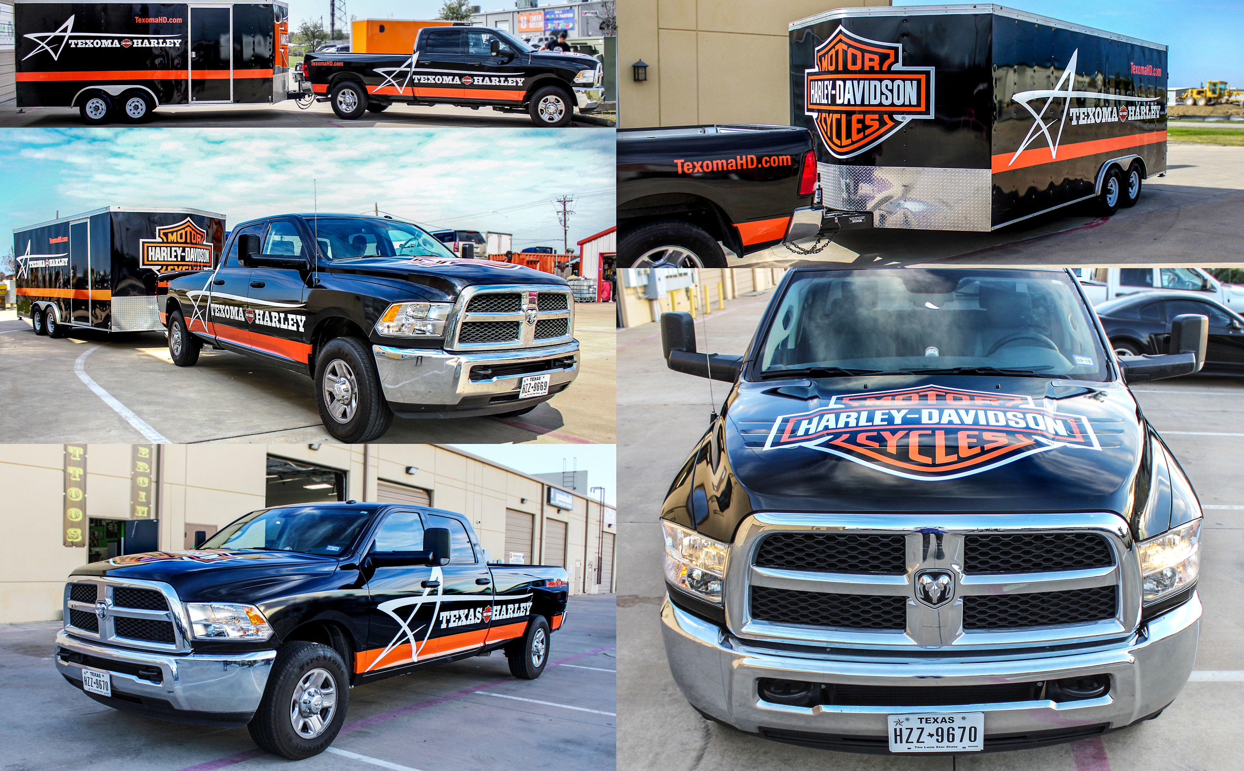Harley davidson truck and trailer wrap custom texas harley wrap transport trailer wrap graphics