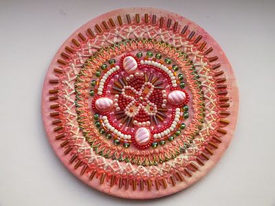 Chris is making mandalas - I may have to copy her!   Beads and stitches - yummy!