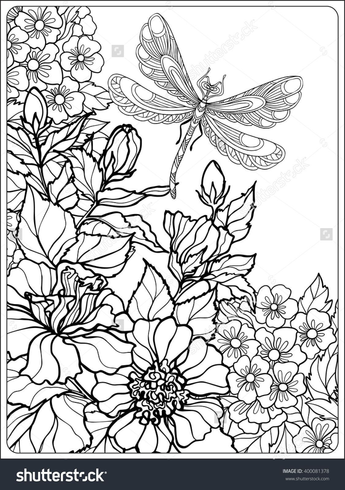 Decorative flowers, birds and butterflies. Coloring book for adult ...