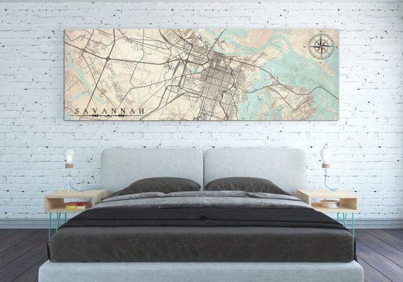 SAVANNAH Canvas Print Georgia GA Savannah Vintage map Savannah City