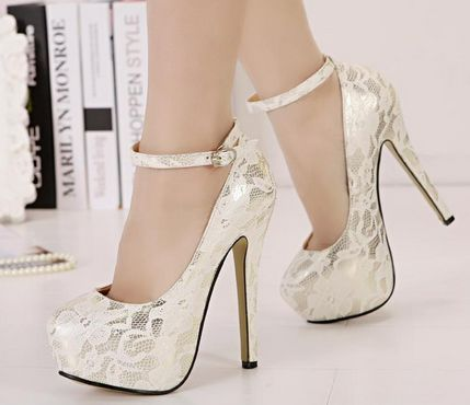 get cheap catch sold worldwide Classy White Lace Ankle Strap Design High Heels Fashion Shoes in ...
