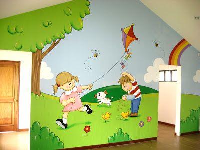 Murales En Colegios Aula Del Jardin De Ninos Mural Infantil Murales Escolares Murales