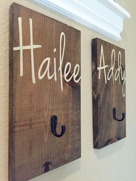 Photo of Rustikaler Haken, Kleiderhaken, Handtuchhaken, Rucksackhaken, Namensschild für Kinder, Namensschilder aus Holz, Handtuchhalter, Handtuchhalter, Badezimmerhaken, Namensschild