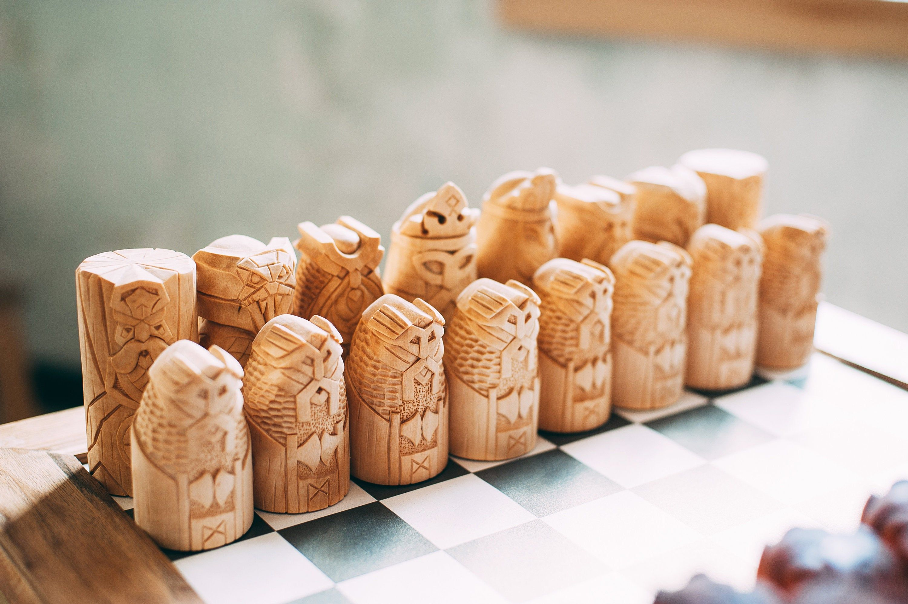 Scandinavian Chess Set Vikings Chess Hand Carved Scandinavian Gods Chess Odin God Freya Statue Freya Frig Loki Thor Statue In 2020 Viking Chess Carving Scandinavian
