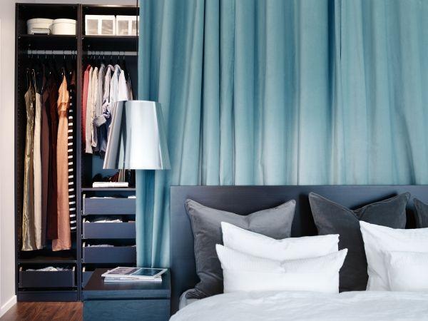 sanela rideau 2 panneaux gris rideaux turquoises s paration et penderie. Black Bedroom Furniture Sets. Home Design Ideas