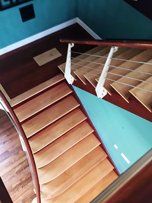 Best Maple Decorative Inlays On Brazilian Cherry Stairs 640 x 480