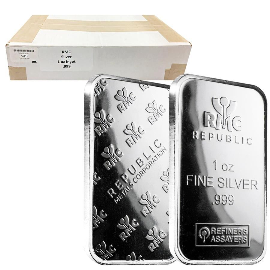 Monster Box Of 500 1 Oz Republic Metals Rmc Silver Bar 999 Fine 25 Tube Lo Silver Bars Silver Fine Silver