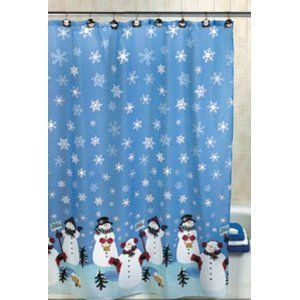 Snowman Christmas Holiday Winter Fabric Shower Curtain Includes 12
