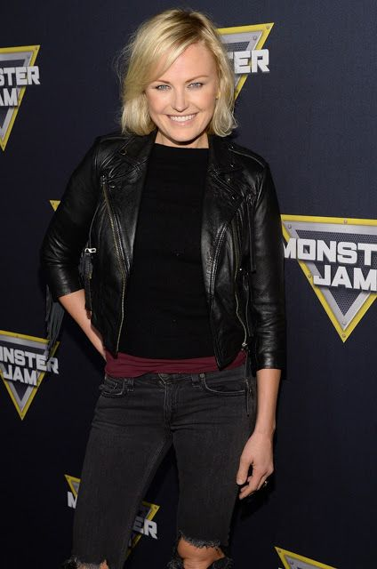 Celebrities In Leather: Malin Akerman wears a black leather jacket
