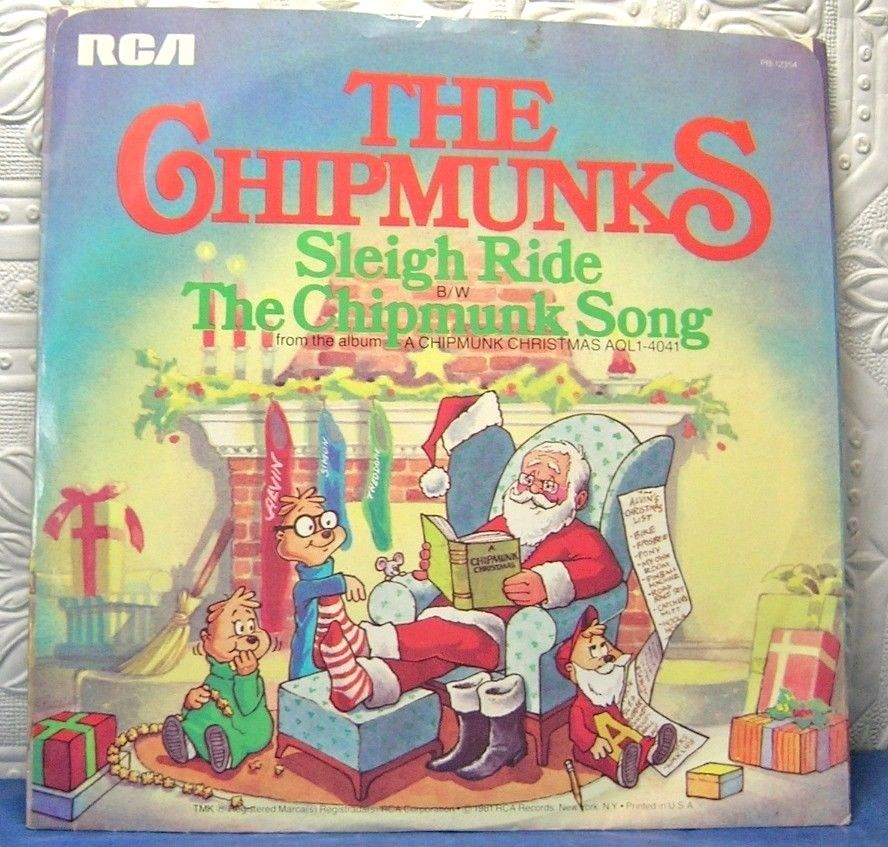 Details about The Chipmunks Christmas 45 RPM Record Sleigh Ride The ...