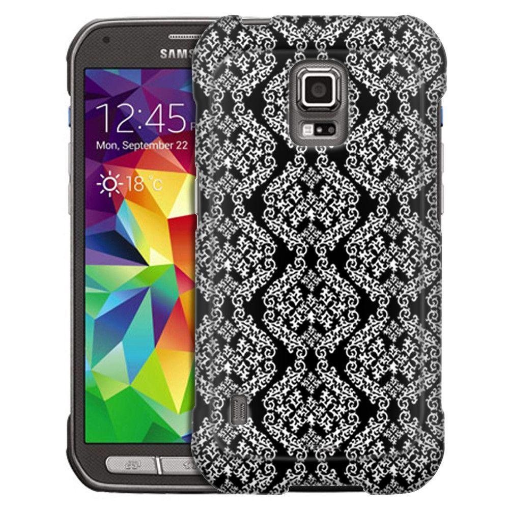 Samsung Galaxy S5 Active Victorian Stunning White on Black Slim Case