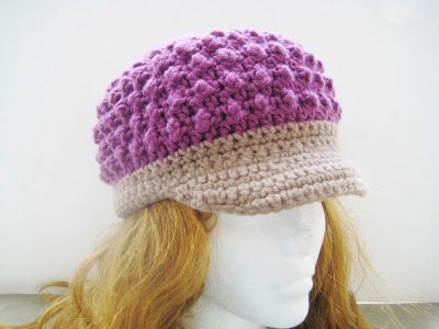 Visor Beanie Crochet Pattern for Girls and Boys , Newborn to Adult