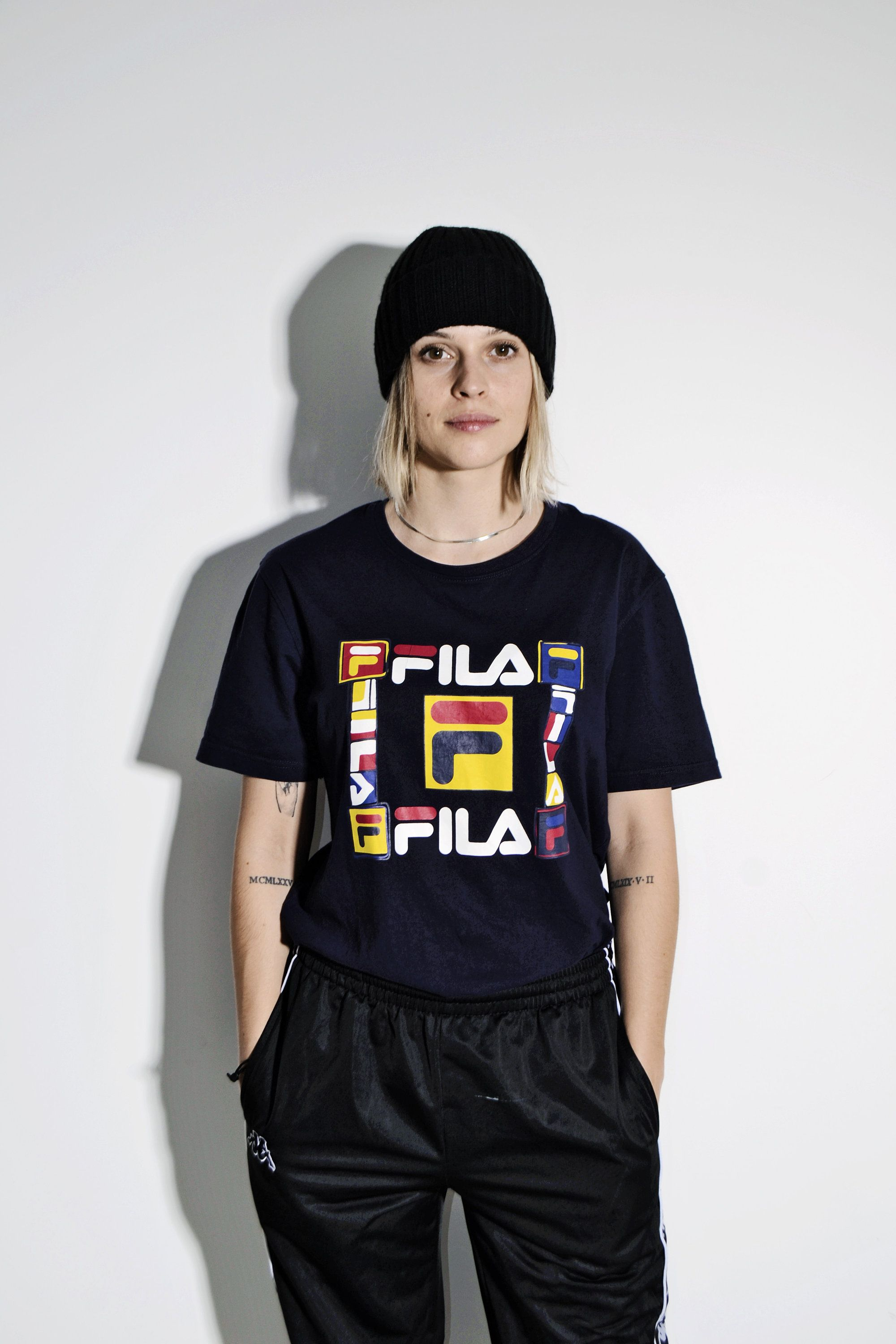 Fila 90s Vintage T Shirt For Women Branded 90s Style In Dark Blue And Multi Logo Print Sports Tee Retro 90s Streetwear Size Medium M T Shirts For