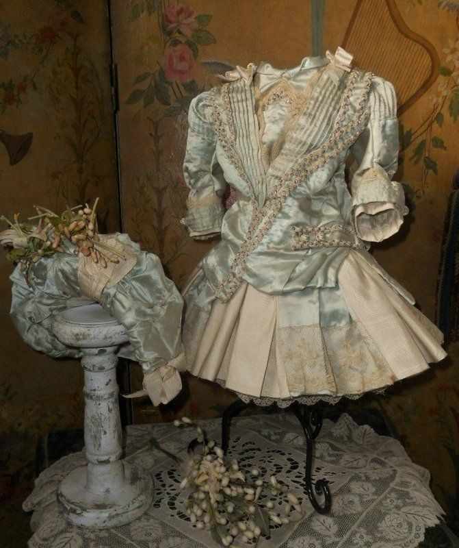 Elegant French Silk Costume with High Brim Straw Bonnet