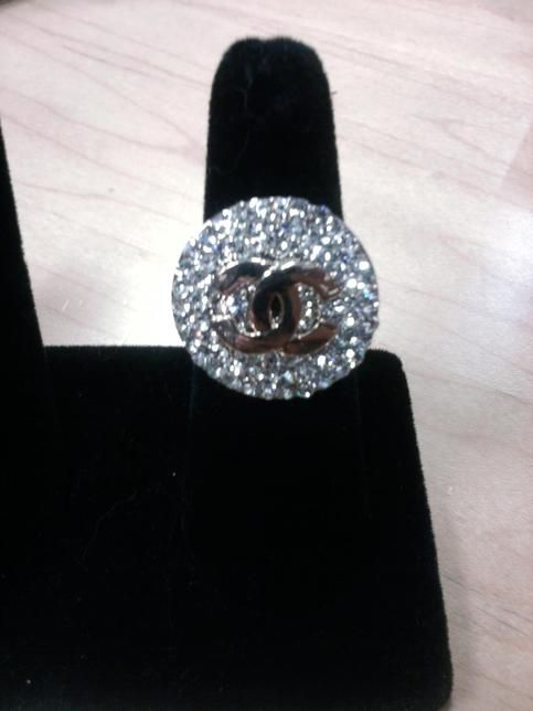Large Rhinestone and Gold Chanel Ring