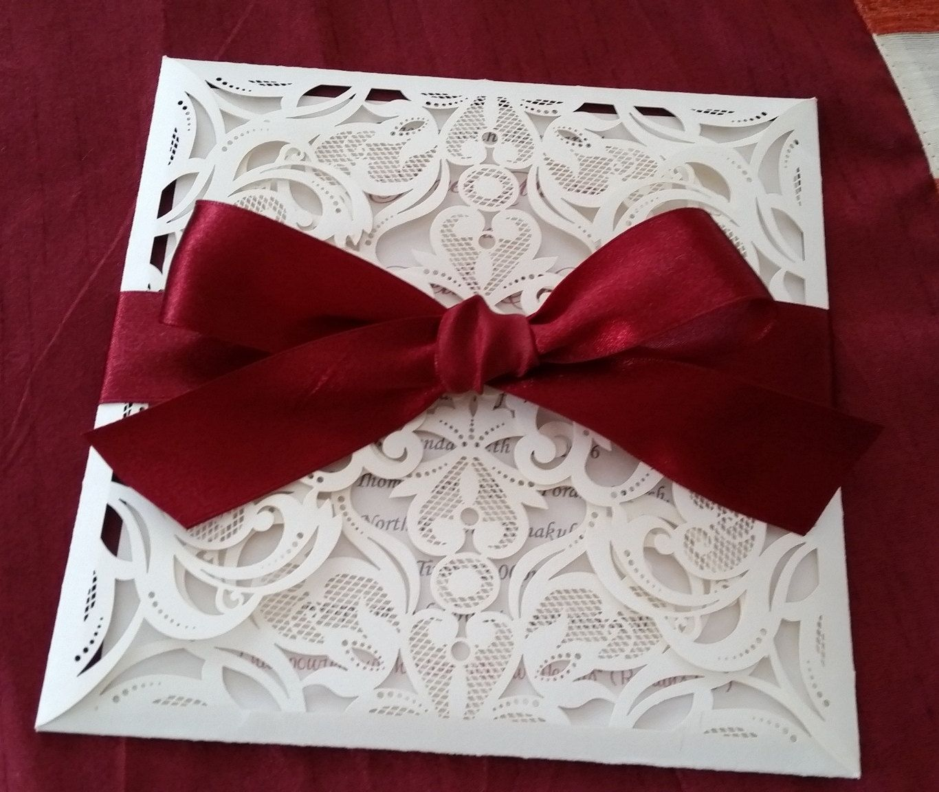 Beautiful Champagne and Burgandy laser cut Invitation cards by LKsInvitations on Etsy