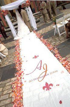 weddings monogram aisle runner with petals