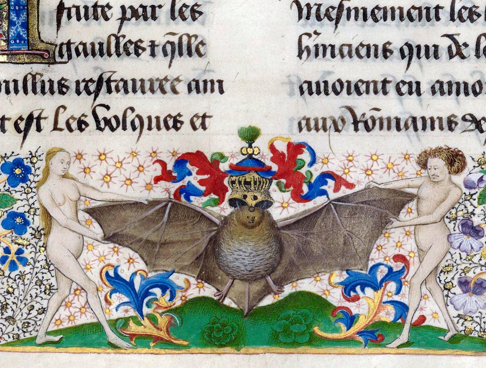 Ca. 1454. Heraldic bat.