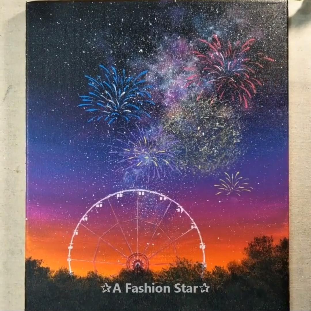 Ferris Wheel Space SpeedArt,  #Ferris #PaintingWallsideas #space #SpeedArt #Wheel